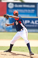 Manuel Rivera of the Gulf Coast League Nationals during the game at Space Coast Stadium in Viera, Florida July 11 2010.  Photo By Scott Jontes/Four Seam Images