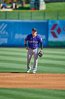 Pat Valaika (8) of the Albuquerque Isotopes on defense against the Salt Lake Bees at Smith's Ballpark on April 27, 2019 in Salt Lake City, Utah. The Isotopes defeated the Bees 10-7. This was a makeup game from April 26, 2019 that was cancelled due to rain. (Stephen Smith/Four Seam Images)