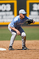 Kyle Seager (10) of the North Carolina Tar Heels waits for a throw from his catcher between innings versus the St. John's Red Storm at the 2008 Coca-Cola Classic at the Winthrop Ballpark in Rock Hill, SC, Sunday, March 2, 2008.