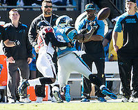 The Carolina Panthers defeated the Atlanta Falcons 34-10 in an inter-division rivalry played in Charlotte, NC at Bank of America Stadium.  Atlanta Falcons cornerback Asante Samuel (22) defends a pass against Carolina Panthers wide receiver Steve Smith (89)
