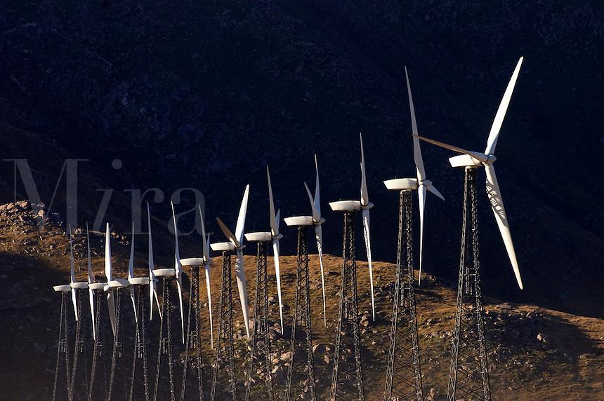 WIND GENERATORS create electricy off of highway 10 - PALM SPRINGS, CALIFORNIA