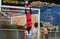 Goalkeeeper Lucas Pirard (21) of Union does a save during the warm up before friendly soccer game between Tempo Overijse and Royale Union Saint-Gilloise, Saturday 29th of June 2021 in Overijse, Belgium. Photo: SPORTPIX.BE   SEVIL OKTEM