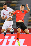 Ji Dongwon of South Korea (R) fights for the ball with Boualem Khoukhi of Qatar (L) during the AFC Asian Cup UAE 2019 Quarter Finals match between Qatar (QAT) and South Korea (KOR) at Zayed Sports City Stadium  on 25 January 2019 in Abu Dhabi, United Arab Emirates. Photo by Marcio Rodrigo Machado / Power Sport Images