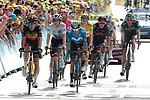 The main GC group including Wout Van Aert (BEL) and Jonas Vingegaard (DEN) Jumbo-Visma, Enric Mas Nicolau (ESP) Movistar Team, Yellow Jersey Tadej Pogacar (SLO) UAE Team Emirates, Richard Carapaz (ECU) Ineos Grenadiers, Rigoberto Uran (COL) EF Education-Nippo and Wilco Kelderman (NED) Bora-Hansgrohe cross the finish line at the end of Stage 15 of the 2021 Tour de France, running 191.3km from Céret to Andorre-La-Vieille, Andorra. 11th July 2021.  <br /> Picture: Colin Flockton | Cyclefile<br /> <br /> All photos usage must carry mandatory copyright credit (© Cyclefile | Colin Flockton)