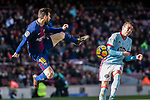 Lionel Messi of FC Barcelona (L) in action against Iago Aspas Juncal of RC Celta de Vigo (R) during the La Liga 2017-18 match between FC Barcelona and RC Celta de Vigo at Camp Nou Stadium on 02 December 2017 in Barcelona, Spain. Photo by Vicens Gimenez / Power Sport Images