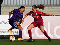 Anderlecht's Mariam Toloba (19) (L) and Essevee's Maud Schiettecatte (15) (R) in action during a female soccer game between the women teams of Zulte Waregem B Dames and RSC Anderlecht Ladies on the 1/16 th qualifying round for the Belgian Womens Cup 2020  2021 , on saturday 26 th of September 2020  in Zulte , Belgium . PHOTO SPORTPIX.BE | SPP | SEVIL OKTEM