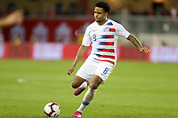 TORONTO, ON - OCTOBER 15: Weston McKennie #8 of the United States sends a ball downfield during a game between Canada and USMNT at BMO Field on October 15, 2019 in Toronto, Canada.