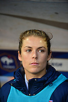 Lorient, France. - Sunday, February 8, 2015: Kelley O'Hara (5) of the USWNT. France defeated the USWNT 2-0 during an international friendly at the Stade du Moustoir.