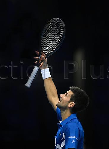 20th November 2020; O2, London;  Novak Djokovic Serbia celebrates his win over Alexander Zverev during the 2020 ATP Finals