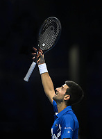 20th November 2020; O2, London;  Novak Djokovic Serbia celebrates his win over Alexander Zverev during the 2020 ATP Finals