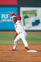 Eliezer Alvarez (11) of the Johnson City Cardinals stretches to touch second base during the game against the Bristol Pirates at Howard Johnson Field at Cardinal Park on July 6, 2015 in Johnson City, Tennessee.  The Pirates defeated the Cardinals 2-0 in game one of a double-header. (Brian Westerholt/Four Seam Images)