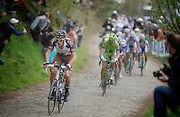 Damien Gaudin (FRA/Ag2r-LaMondiale) over the cobbles of the Oude Kwaremont<br /> <br /> Ronde van Vlaanderen 2014