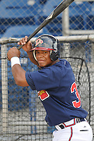 June 19, 2008: Infielder Joel Campusano (32) of the Danville Braves, rookie Appalachian League affiliate of the Atlanta Braves, prior to a game against the Burlington Royals at Dan Daniel Memorial Park in Danville, Va. Photo by:  Tom Priddy/Four Seam Images