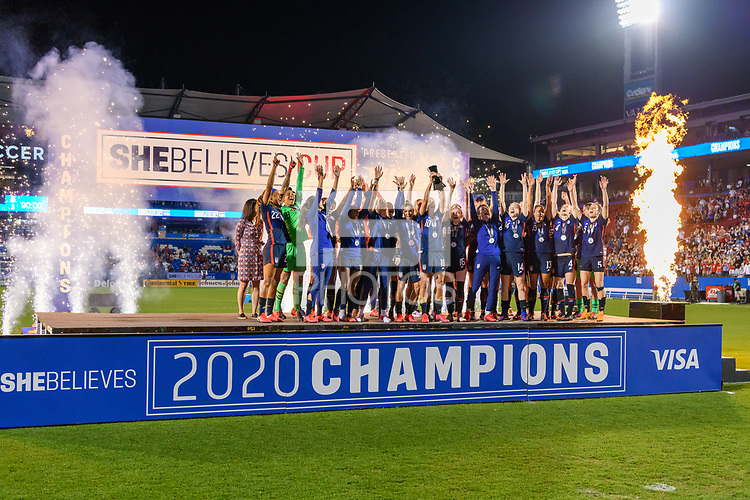 FRISCO, TX - MARCH 11: The USWNT receives their trophy for winning the SheBelieves Cup during a game between Japan and USWNT at Toyota Stadium on March 11, 2020 in Frisco, Texas.