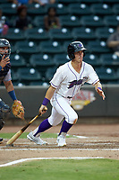 JJ Muno (10) of the Winston-Salem Dash follows through on his swing against the Lynchburg Hillcats at BB&T Ballpark on August 1, 2019 in Winston-Salem, North Carolina. The Dash defeated the Hillcats 9-7. (Brian Westerholt/Four Seam Images)