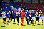 St Johnstone v Fleetwood Town…24.07.21  McDiarmid Park<br />Zander Clark holding the Scottish Cup and Stevie May holding the Betfred Cup lead their team mates on a lap of honour at McDiarmid Park showing the fans the two trophies<br />Picture by Graeme Hart.<br />Copyright Perthshire Picture Agency<br />Tel: 01738 623350  Mobile: 07990 594431
