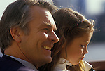 David Owen with daughter Lucy.  Politician 1980s England.