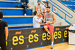 Players Joan Sastre and Jaime Fernandez attend to journalist after the training of Spanish National Team of Basketball 2019 . July 26, 2019. (ALTERPHOTOS/Francis González)