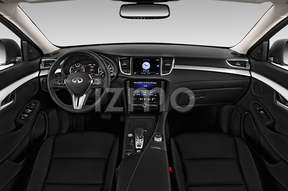Stock photo of straight dashboard view of a 2019 Infiniti QX50 LUXE AWD 5 Door SUV