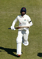 16th April 2021; Emirates Old Trafford, Manchester, Lancashire, England; English County Cricket, Lancashire versus Northants; Saqib Mahmood of Lancashire  runs between wickets