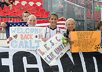 02 June 2013: The U.S. Women's National Team fans show their support during an International Friendly soccer match between the U.S. Women's National Soccer Team and the Canadian Women's National Soccer Team at BMO Field in Toronto, Ontario.<br /> The U.S. Women's National Team Won 3-0.