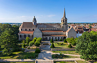 France, Creuse, Evaux les Bains, Saint-Pierre-Saint-Paul Romanesque abbey (aerial view) // France, Creuse (23), Évaux-les-Bains, abbatiale romane Saint-Pierre-Saint-Paul (vue aérienne)