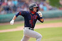 Second baseman Connor Hollis (1) of the Bowling Green Hot Rods in a game against the Greenville Drive on Sunday, May 9, 2021, at Fluor Field at the West End in Greenville, South Carolina. (Tom Priddy/Four Seam Images)