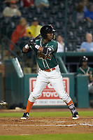 Marcos Rivera (11) of the Greensboro Grasshoppers at bat against the West Virginia Power at First National Bank Field on June 1, 2018 in Greensboro, North Carolina. The Grasshoppers defeated the Power 10-3. (Brian Westerholt/Four Seam Images)