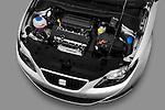 High angle engine detail of 2010 Seat Ibiza ST 5 Door Wagon Stock Photo