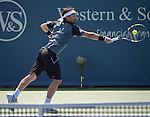 Fabio Fognini (ITA) loses to Milos Raonic (CAN 6-1, 6-0 at the Western & Southern Open in Mason, OH on August 15, 2014.