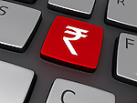 Illustrative image of rupee sign on keyboard representing online shopping