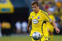 27 MAY 2009: #19 Robbie Rogers, Columbus Crew forward in action during the San Jose Earthquakes at Columbus Crew MLS game in Columbus, Ohio on May 27, 2009. The Columbus Crew defeated San Jose 2-1