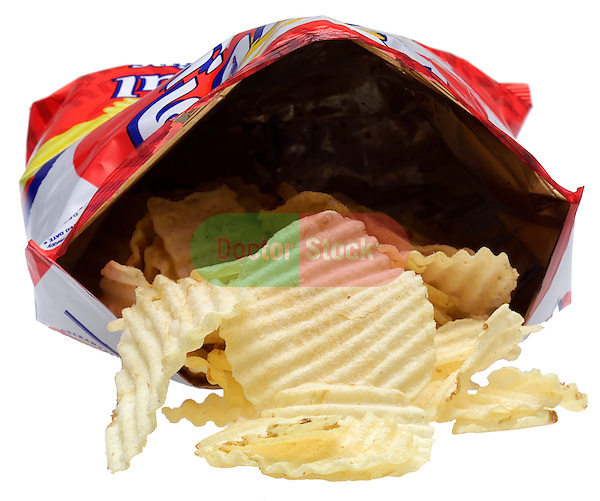 foil bag with potato chips spilling out on shadowless white background
