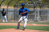 Chicago Cubs relief pitcher David Garner (36) delivers a pitch to the plate during a rehab assignment at an Extended Spring Training game against the Colorado Rockies at Sloan Park on April 17, 2018 in Mesa, Arizona. (Zachary Lucy/Four Seam Images)