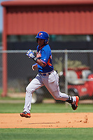 GCL Mets shortstop Angel Manzanarez (7) running the bases during the first game of a doubleheader against the GCL Astros on August 5, 2016 at Osceola County Stadium Complex in Kissimmee, Florida.  GCL Astros defeated the GCL Mets 4-1 in the continuation of a game started on July 21st and postponed due to inclement weather.  (Mike Janes/Four Seam Images)