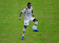 WASHINGTON, DC - NOVEMBER 8: Zachary Brault-Guillard #15 of the Montreal Impact controls the ball during a game between Montreal Impact and D.C. United at Audi Field on November 8, 2020 in Washington, DC.