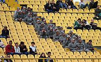 BOGOTÁ - COLOMBIA, 10-08-2019:Infantes de Marina asisten al encuentro entre Equidad y Atlético Nacional durante el encuentro contra La Equidad partido por la fecha 5 de la Liga Águila II 2019 jugado en el estadio Nemesio Camacho El Campín  de la ciudad de Bogotá. /Marines attend the game between Equity and Atlético Nacional during match for the date 5th of the Liga Aguila II 2019 played at Nemesio Camacho El Campin  stadium in Bogota city. Photo: VizzorImage / Felipe Caicedo / Staff.