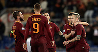 Calcio, ottavi di finale di Tim Cup: Roma vs Sampdoria. Roma, stadio Olimpico, 19 gennaio 2017.<br /> Roma's Radja Nainggolan, right, celebrates with teammates after scoring during the Italian Cup round of 16 football match between Roma and Sampdoria at Rome's Olympic stadium, 19 January 2017.<br /> UPDATE IMAGES PRESS/Isabella Bonotto