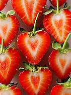 Fresh strawberry halves