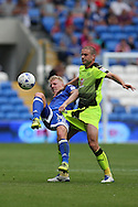 Lex Immers of Cardiff city (l) is fouled by Joey Van Den Berg of Reading. EFL Skybet championship match, Cardiff city v Reading at the Cardiff city stadium in Cardiff, South Wales on Saturday 27th August 2016.<br /> pic by Andrew Orchard, Andrew Orchard sports photography.