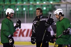 Player Todd Elik of Canada, head coach Mike Posma and Brendan Yarema at second ice hockey practice of HDD Tilia Olimpija on ice in the new season 2008/2009, on August 19, 2008 in Hala Tivoli, Ljubljana, Slovenia. (Photo by Vid Ponikvar / Sportal Images)