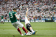 Carlos Salcedo of Mexico and Thomas Mueller of Germany during the 2018 FIFA World Cup Russia, Group F football match between Germany and Mexico on June 17, 2018 at Luzhniki Stadium in Moscow, Russia - Photo Thiago Bernardes / FramePhoto / ProSportsImages / DPPI