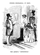 "The Queen's ""Sevenpence."" (a young Queen Victoria hands over some money in income tax from a purse of £60,000 to Prime Minister Robert Peel as a shocked Prince Albert takes out money from his purse of £38,000)"