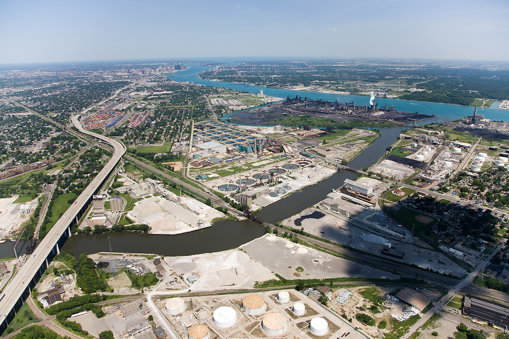 Rouge River empties into the Detroit River at Zug Island