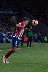 October 27, 2018 - Madrid, Madrid, Spain - Arias head the ball..during the match between Atletico de Madrid vs Real Sociedad. Atletico de Madrid won by 2 to 0 over Real Sociedad whit goals of Godin and Filipe Luis. (Credit Image: © Jorge Gonzalez/Pacific Press via ZUMA Wire)