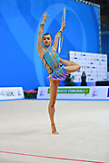 Prince Danielle during qualifying hoop at the Pesaro World Cup April 1, 2016. She is a rhythmic gymnastics athlete from Australia born 12 June 1992 in Brisbane.<br /> Danielle competed at the 2016 Summer Olympics held in Rio de Janeiro, Brazil.