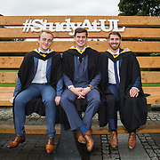 """23.08.2016        <br /> Over 300 students graduated from the Faculty of Arts Humanities and Social Sciences at the University of Limerick today. <br /> <br /> Attending the conferring ceremony were Bachelor of Architecture graduates, Paul Keane, Dunshaughlin Co. Meath, Ian Flannery, Clarinbridge Co. Galway and William Haire, Foxtown Co. Meath. Picture: Alan Place.<br /> <br /> <br /> <br /> <br /> UL Graduates Employability remains consistently high as they are 14% more likely to be employed after Graduation than any other Irish University Graduate<br /> Each year, the Careers Service collects information about the 'First Destinations' of UL graduates. During the April/May period following graduation, we survey those who have completed full-time undergraduate and postgraduate courses for details on their current status. This current survey was conducted nine months after graduation and focuses on the employment and further study patterns of the graduates of 2015. A total of 2,933 graduates were surveyed and a response rate of 87% was achieved. <br /> As the University of Limerick commences four days of conferring ceremonies which will see 2568 students graduate, including 50 PhD graduates, UL President, Professor Don Barry highlighted the continued demand for UL graduates by employers; """"Traditionally UL's Graduate Employment figures trend well above the national average. Despite the challenging environment, UL's graduate employment rate for 2015 primary degree-holders is now 14% higher than the HEA's most recently-available national average figure which is 58% for 2014"""". The survey of UL's 2015 graduates showed that 92% are either employed or pursuing further study."""" Picture: Alan Place"""