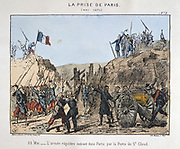 Paris Commune 26 March-28 May 1871. The Bloody Week:    Regular Government troops, Versailles, entering Paris by the Porte St Cloud, 22 May 1871.  Coloured lithograph.