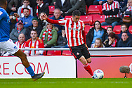 Bryan Oviedo of Sunderland (3) in action during the EFL Sky Bet League 1 first leg Play Off match between Sunderland and Portsmouth at the Stadium Of Light, Sunderland, England on 11 May 2019.