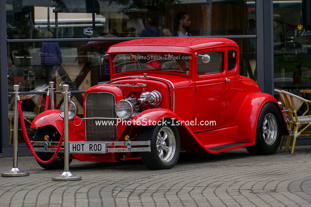 Old Ford Coupe Hot Rod Classic Car on display in Riga, Latvia